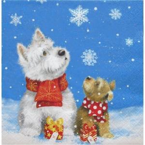 ti-flair ドイツ製ペーパーナプキン Two Dogs enjoy the Snow  310707 バラ売り2枚1セット デコパージュ ドリパージュ|ccpopo
