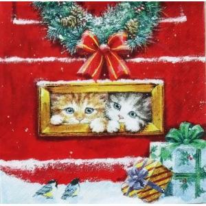 ti-flair ドイツ製ペーパーナプキン クリスマスが待ち遠しい子猫達 レターボックス Letterbox Talk 310742 バラ売り2枚1セット デコパージュ ドリパージュ ccpopo