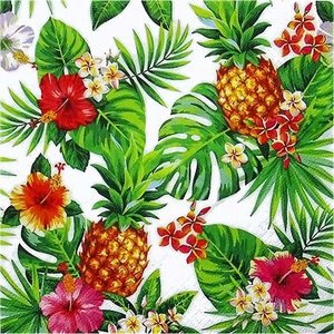 ti-flair ドイツ製ペーパーナプキン パイナップル ヤシの葉 Pineapples & Palmleaves white 340117 バラ売り2枚1セット デコパージュ ドリパージュ|ccpopo