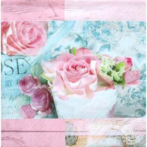 ti-flair ドイツ製ペーパーナプキン 美しいパリの薔薇 花 ピンク ローズ Belle Fleurs de Paris rose 340210 バラ売り2枚1セット デコパージュ ドリパージュ|ccpopo