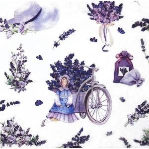 ti-flair ドイツ製ペーパーナプキン ティルダ人形とラベンダーブーケ Lavender Bouquets with Tilda Doll 344598 バラ売り2枚1セット デコパージュ ccpopo