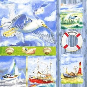 ti-flair ドイツ製ペーパーナプキン 海岸のコラージュ Coastal Collage 370056 バラ売り2枚1セット デコパージュ ドリパージュ|ccpopo