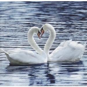 ti-flair ドイツ製ペーパーナプキン 白鳥 スワン White Swans 371062 バラ売り2枚1セット デコパージュ ccpopo