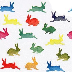 ti-flair ドイツ製ペーパーナプキン カラフルなウサギ達 うさぎ Colorful Rabbits 380006 バラ売り2枚1セット デコパージュ ドリパージュ|ccpopo