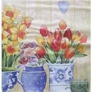 ti-flair ドイツ製ペーパーナプキン 春の花 Macetas con Flores Primavera 389220 バラ売り2枚1セット デコパージュ ドリパージュ|ccpopo
