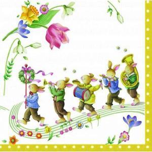 1枚バラ売りペーパーナプキン Villeroy&Boch ビレロイ&ボッホ ドイツ 春の幻想 ウサギの音楽隊 742200 デコパージュ ドリパージュ|ccpopo