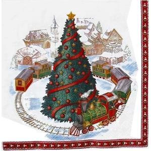 1枚バラ売りペーパーナプキン Villeroy&Boch ビレロイ&ボッホ ドイツ クリスマストレイン CHRISTMAS TRAIN IN TOWN 765300 デコパージュ ドリパージュ|ccpopo