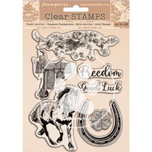 スタンペリア Stamperia HD ナチュラルラバースタンプ Natural Rubber Stamp 14x18cm Romantic Horses ccpopo