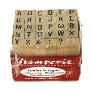 スタンペリア Stamperia イタリア 小さな木製アルファベットスタンプ 30 tiny Stamps Capital small 0.5cm|ccpopo