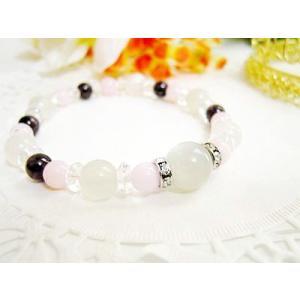 パワーストーン ブレスレット ピンクオパール ムーンストーン ガーネット 平珠水晶 天然石|ccr