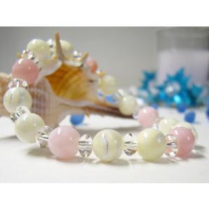 パワーストーン ブレスレット マザーオブパール ピンクオパール 水晶 天然石|ccr