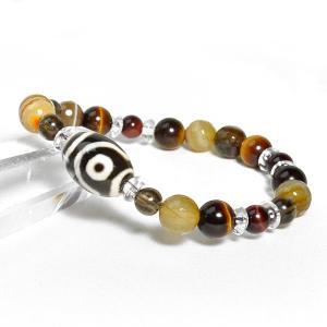 メンズパワーストーンブレスレットブレス レディース 人気 2色から選べる 二眼天珠 円満 タイガーアイ 天然石