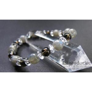 パワーストーンブレスレット ラブラドライト スモーキークォーツ 水晶 天然石|ccr