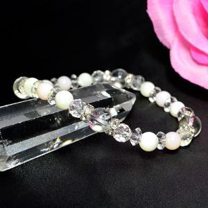 パワーストーン ピンクオパール マザーオブパール 水晶 カット水晶 カット平珠水晶ブレスレット  天然石|ccr