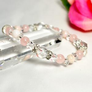 パワーストーン ブレスレット ピンクオパール ローズクォーツ 水晶 カット水晶 カット平珠水晶 天然石|ccr
