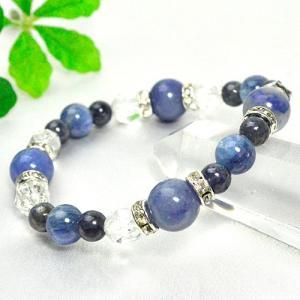 パワーストーン ブレスレット ブルーアベンチュリン カイヤナイト サファイア カット水晶    天然石|ccr