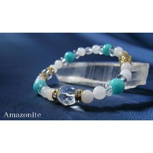 パワーストーン ブレスレット アマゾナイト ホワイトジェイド スターカット水晶  天然石|ccr