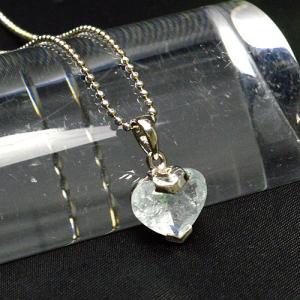 アクアマリン カットハート型 ネックレス プラチナロジウムコーティング パワーストーン 天然石 ゆうパケット不可|ccr