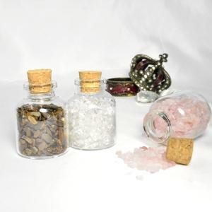 パワーストーン さざれ石 ガラス小瓶 ローズクォーツ 水晶 天然石|ccr|03