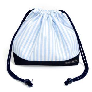 巾着袋・中 マチ有りお弁当袋 ベーシックストライプ・水色 × 帆布・紺