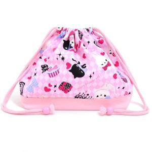巾着袋・中 マチ有りお弁当袋 ピンクアーガイルと子猫のプリンセス × オックス・ピンク