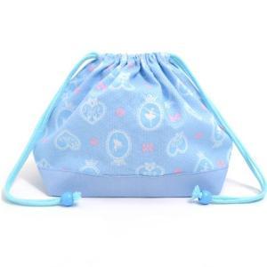 巾着袋・中 マチ有りお弁当袋 バレリーナインミラー(ライトブルー) × オックス・サックス