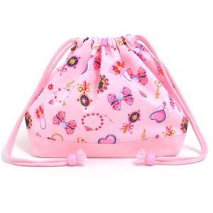 巾着袋・中 マチ有りお弁当袋 リトルレディのキラキラアクセサリー(ピンク) × オックス・ピンク