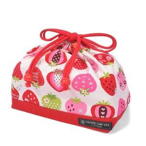 巾着袋・中 マチ有りお弁当袋 スイートストロベリーコレクション(アイボリー) × オックス・赤