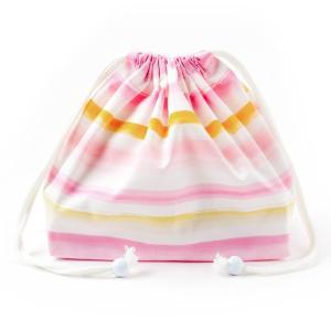 巾着袋・中 マチ有りお弁当袋(総柄タイプ) ピンクサンセット