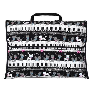 防災頭巾カバー スタンダード(背板幅36cmタイプ) ピアノの上で踊る黒猫ワルツ(ブラック) 小学校 小学生 (防災頭巾カバー 背もたれ )