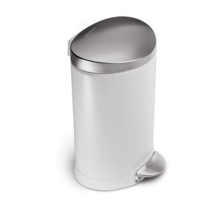 simplehuman セミラウンドステップカン 6L ペダル式 フタ付き 小さめ 小型 トイレ 洗面室 シンプルヒューマン 正規品 1年間メーカー保証付き CW1835 ホワイト|cdf|02
