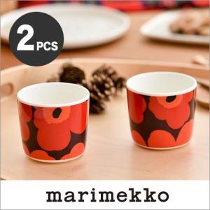 marimekko UNIKKO ラテマグ【2個セット】プラム×レッド 76(432)【67849】コーヒーカップ ウニッコ マリメッコ|cds-r
