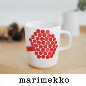 marimekko HORTENSIE マグカップ/ホワイト×レッド 75(130)【68303】マリメッコ ホルテンシエ|cds-r