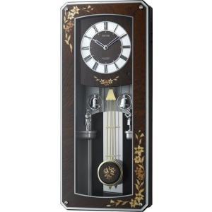 からくり時計 壁掛け時計 プライムメネット 4MN518RH06 象嵌報時振り子時計 電波時計 リズム時計  名入れ 送料無料 ギフト お洒落 名入れ 掛け時計|cecicela