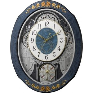 象嵌細工が美しい!プライムウィーブ 報時掛け時計 からくり時計 リズム時計 4MN527RH04 名入れ 送料無料 ギフト お洒落 名入れ 掛け時計 cecicela