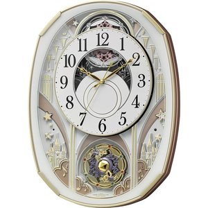 からくり時計 壁掛け時計 スモールワールド ノエルS 4MN551RH03  リズム時計 名入れ 送料無料 ギフト お洒落 掛け時計|cecicela
