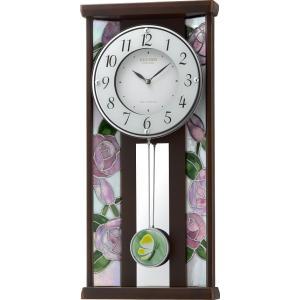 振り子時計 ステンドグラス ローズ RHG-M007 4MX406HG06 掛け時計 リズム時計 無料名入れ 送料無料|cecicela