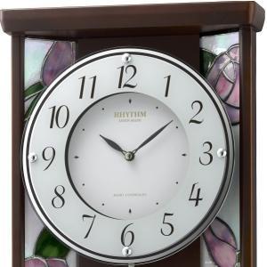 振り子時計 ステンドグラス ローズ RHG-M007 4MX406HG06 掛け時計 リズム時計 無料名入れ 送料無料|cecicela|02
