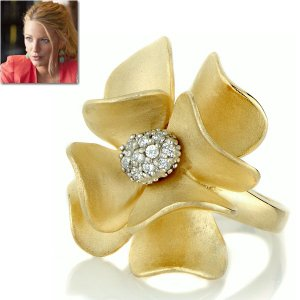 フラワー リング ゴールド カクテルリング ブレイク ライブリー コレクション|celeb-cz-jewelry