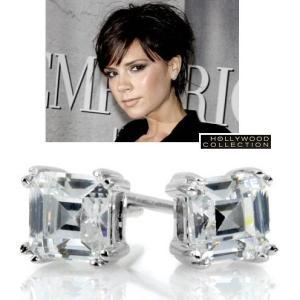 ピアス ダイヤモンド アッシャーカット 1.2キャラット ヴィクトリア べッカム コレクション|celeb-cz-jewelry