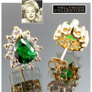 ピアス エメラルルド グリーン ティアドロップ 18金  ピアス|「ホンキートンク」ラナ ターナー コレクション|celeb-cz-jewelry