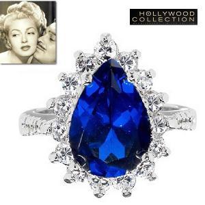 リング サファイア ブルー ティアドロップ パーティ カクテルリング ラナ ターナー コレクション|celeb-cz-jewelry
