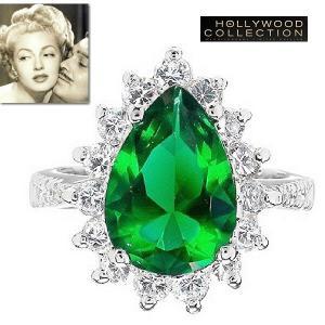 リング エメラルド グリーン ティアドロップ「ホンキートンク」ラナ ターナー コレクション|celeb-cz-jewelry