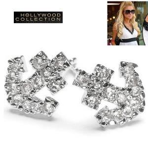 ピアス パヴェ ダイヤモンド アンカー 錨 ピアス|パリス ヒルトン コレクション|celeb-cz-jewelry