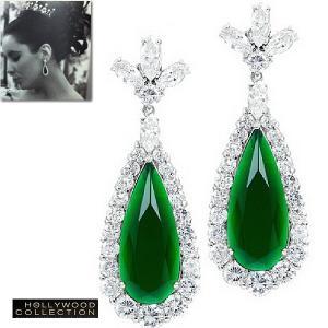 ピアス 揺れる エメラルド グリーン ティアドロップ エリザベス テイラー コレクション|celeb-cz-jewelry