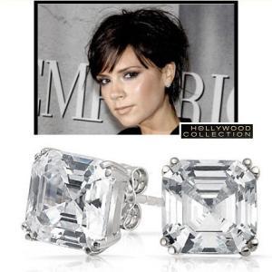 ピアス 一粒 ダイヤモンド アッシャーカット 8mm ヴィクトリア べッカム コレクション|celeb-cz-jewelry