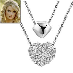 ネックレス ハート ダブル パヴェ ペンダント テイラー スウィフト コレクション|celeb-cz-jewelry