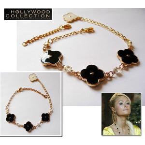 ブレスレット アンクレット 四つ葉 クローバー 幸運  18金  ブラック & ホワイト パリス ヒルトン コレクション|celeb-cz-jewelry