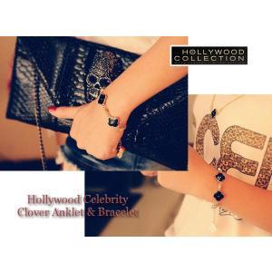 ブレスレット アンクレット 四つ葉 クローバー 幸運  18金  ブラック & ホワイト パリス ヒルトン コレクション|celeb-cz-jewelry|05