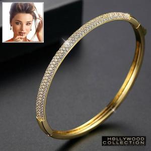 バングル プレスレット 18金 ゴールド マイクロ パヴェ ダイヤモンド ミランダ カー コレクション|celeb-cz-jewelry